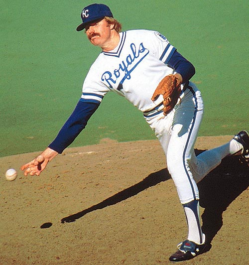Kansas City Royals Dan Quisenberry (pictured here in 1980) records his 200th save. The sidearm specialist would retire with 244 career saves.