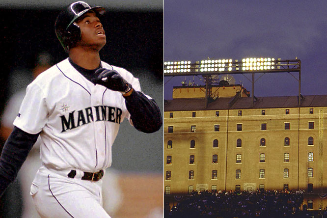 Ken Griffey Jr. led the American League to a 21-12 win over the NL thanks in part to a home run off the warehouse across the street from Camden Yards in the 1993  Derby.