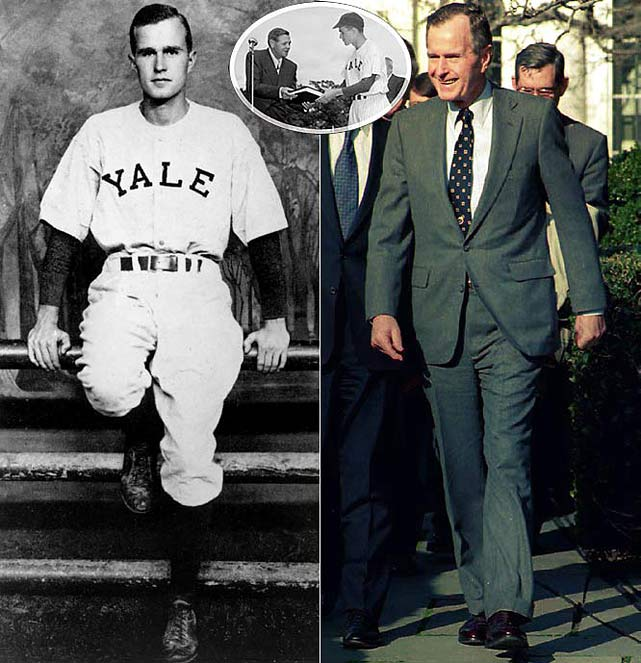The 41st President of the United States captained the Yale baseball team, and as a left-handed first baseman, played in the first two College World Series. As the team captain, Bush met Babe Ruth (inset) before a game during his senior year.