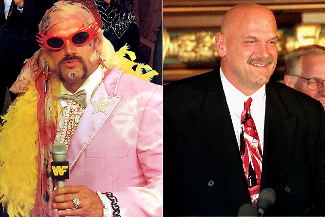 "Jesse ""the Body"" Ventura smoothly transfered from a life of pro wrestling to the governor's house of Minnesota.  He didn't seek a second term."