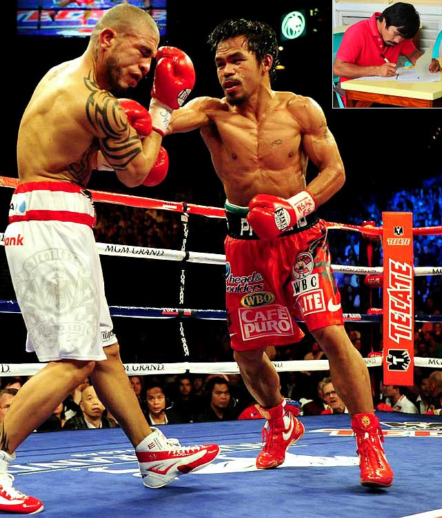 In November 2009, the hard-hitting Filipino became the first boxer in history to earn world championships in seven different weight classes. Six months later, Pacquiao upset heavy favorite Roy Chiongbian in the race to represent the southern province of Sarangani in the Philippine Congress.