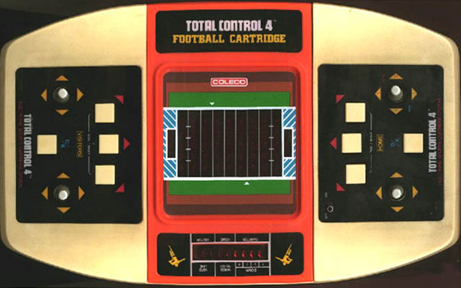 A step up from the previous year's Coleco Head to Head Football, Total Control 4 was a cartridge-based sports gaming system which came bundled with the football cartridge (above, the orange section).