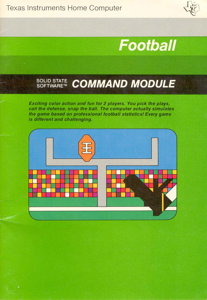 While users couldn't actually control the players, this Texas Instruments title was a very detailed football simulation for its time.