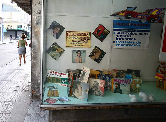 Old John Lennon albums are available alongside the songs of Che Guevara at this store in Havana.