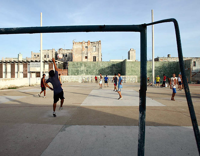 Near the corner of the Malecón and Avenida G is a concrete jungle where you can find games of pickup soccer, basketball and even volleyball taking place on weekday afternoons. Soccer may only be the fourth- or fifth-most popular sport in Cuba, but its stature is slowly growing. Some of these guys had game, too.