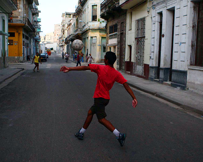 Toward sunset on Tuesday we found some street-soccer scenes in Centro Habana, a shabby-but-vibrant part of town with narrow streets, crumbling buildings and locals who will talk your ear off.