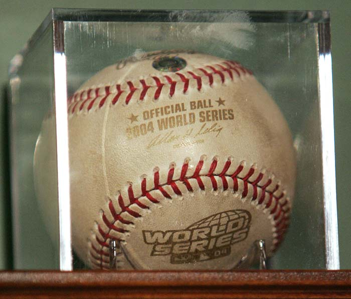 The Red Sox petition a judge to keep the ball used to record the last out of 2004 World Series making the team World Champs for the first time in 86 years. Former first baseman Doug Mientkiewicz, who caught the ball after being thrown by Keith Foulke, loaned it to Boston but continues to claim ownership of the sensational sphere.