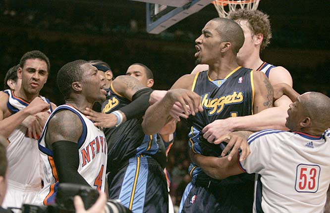 During a game in New York, a fight breaks out between multiple players for the Denver Nuggets and the New York Knicks. Ten players are ejected from the game.