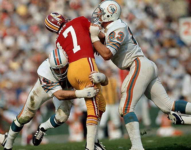 It's never a good sign for a quarterback when the other team's free safety wins Super Bowl MVP honors, as Miami's Jake Scott did after the Dolphins 14-7 win. Kilmer was under assault all day by the dominant Manny Fernandez and undefeated Miami's defensive front. Kilmer had trouble leading the Redskins offense past midfield, let alone into the end zone, and if not for the comedic stylings of Dolphins kicker Garo Yepremian, the Redskins would not have scored a single point.