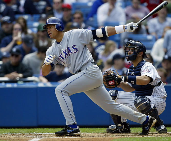The Rangers finished in the cellar again, but Rodriguez earned his first AL MVP in 2003, leading the American League in home runs, runs scored, and slugging percentage, in addition to winning his second Gold Glove Award. This was also the year Rodriguez tested positive for steroids, according to Sports Illustrated.