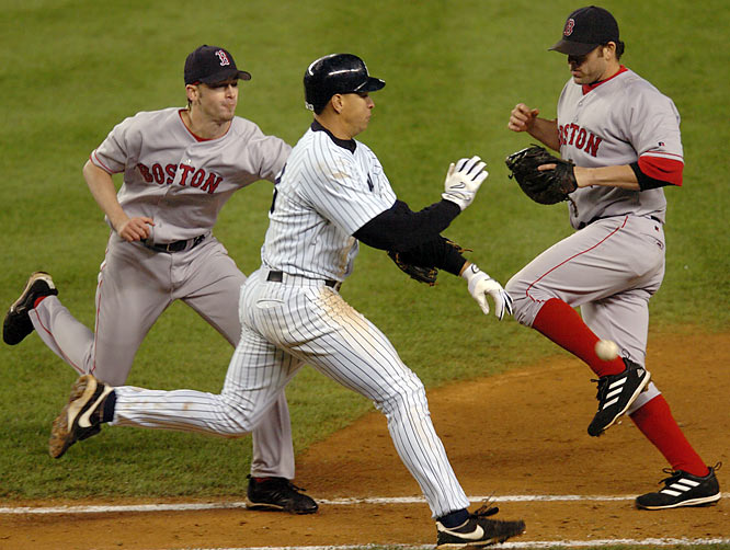 On Feb. 15, 2004, the Rangers traded Rodriguez to the Yankees for Alfonso Soriano and Joaquin Arias. In his first season in the Bronx (and at third base), Rodriguez batted .286 with 36 home runs, 106 RBIs, 112 runs scored and 28 stolen bases. He also batted .421 in the ALDS against the Twins.