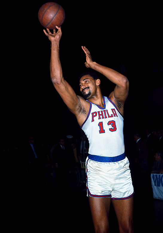 Philadelphia's Wilt Chamberlain shoots a perfect 18-for-18 from the field against the Baltimore Bullets, an NBA record for field goals in a game without a miss.