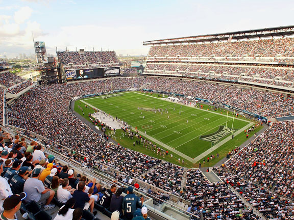 Lincoln Financial Field is a place where serious fans go to talk football. Eagles fans are smart, obnoxious, and rowdy.  Lincoln Financial Field boasts the largest video screen in the NFL, and unlike the old Veterans Stadium there is no bad seat in the arena.  Three of the corners of the stadium are open so fans can look at Philadelphia skyline.