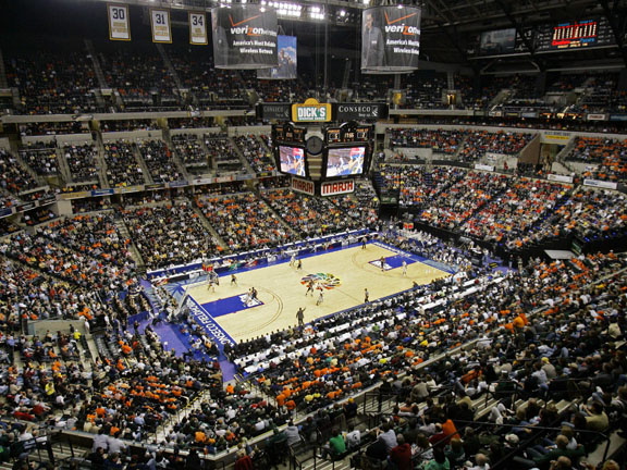 The home of the Indiana Pacers has consistently been ranked one of the best venues in the NBA.  It is styled after a historic arena, with old-fashioned ticket windows and a huge, open lobby.  It has the most comfortable seats in the league, which are consistently filled with basketball-crazy fans.