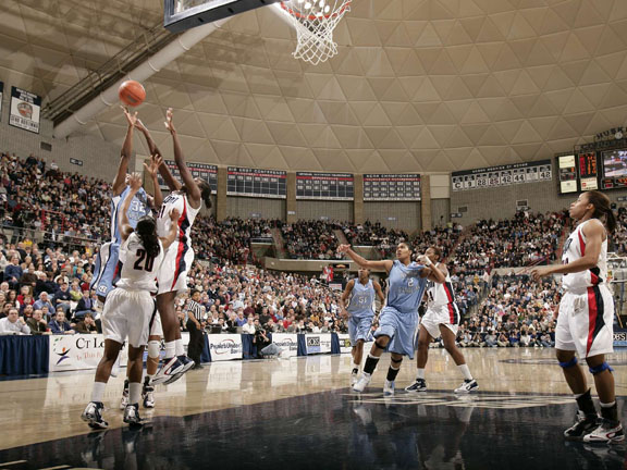 There is no better place to watch college basketball than Gampel Pavilion, the home of the UCONN Huskies.  With a capacity of over 10,000, it is the largest on-campus basketball arena in the Northeast.  With only one professional sports team in Connecticut--the WNBA's Connecticut Sun--UCONN students and Connecticut sports fans alike cram into Gampel to watch the men's and women's teams dominate every year.
