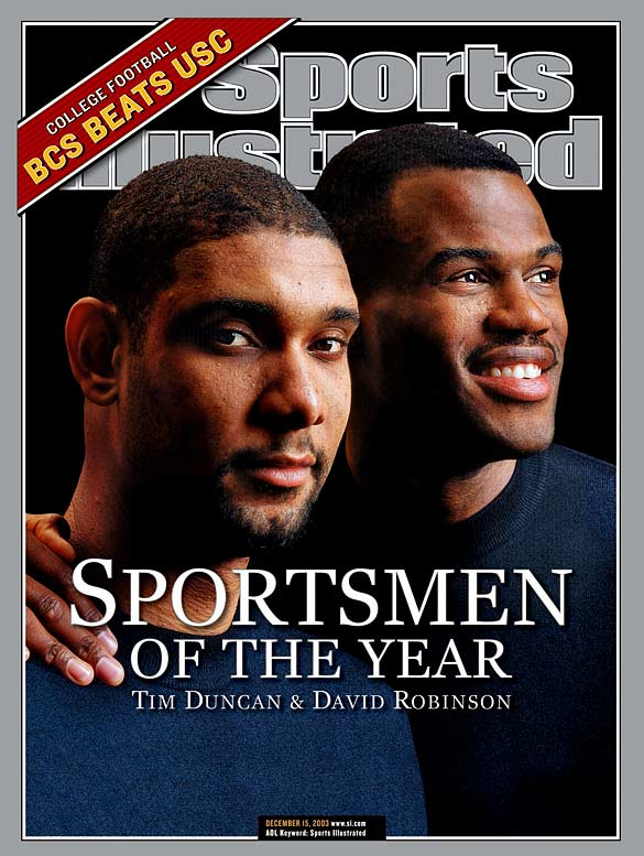 Drafted No. 1 by the Spurs a decade apart, Robinson and Tim Duncan were SI's 2003 Sportsmen of the Year. The big men won as much for their work in the San Antonio community as they did for helping the Spurs win the NBA title that year. Robinson has been well-known over the years for donating his time and money to charitable causes.
