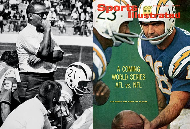 The Chargers, who moved to San Diego after just one season in L.A., appeared in five of the league's first six championship games under the leadership of Hall of Fame coach and innovator Sid Gillman (left). However, they lost four of those five games and history has not been kind to them since: the Chargers have appeared in just one Super Bowl, losing badly to the 49ers in Super Bowl XXIX. Great offensive teams that consistently fall short in the playoffs has been San Diego's hallmark from the days of Gillman in the 1960s, to Dan Fouts in the 1980s, to LaDainian Tomlinson today.