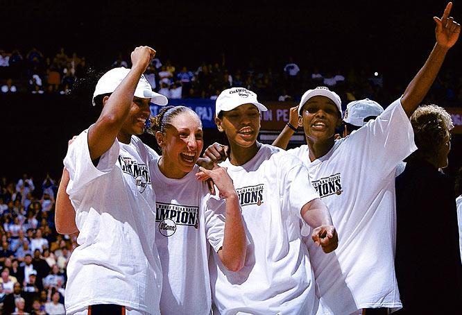 Led by Diana Taurasi, UConn beats Oklahoma, 82-70, to win the national championship.