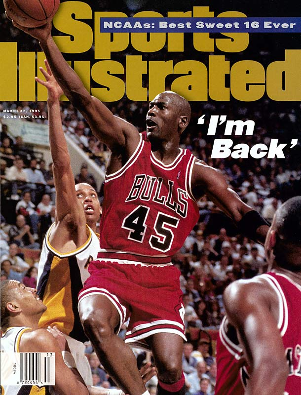 """""""I'm back,"""" Jordan announced via fax in March 1995. Wearing No. 45, Jordan played his first NBA game since his return at Indiana on March 19, scoring 16 points (on 7-of-28 shooting) in 38 minutes in the Bulls' overtime loss."""