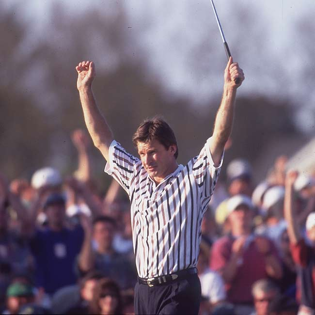At the 60th Masters Championship, Nick Faldo shoots a 276 to secure the Green Jacket.
