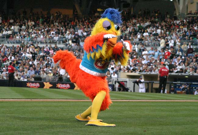 The San Diego Chicken, one of the most recognized mascots in sports, makes his first appearance at a Padres home game.