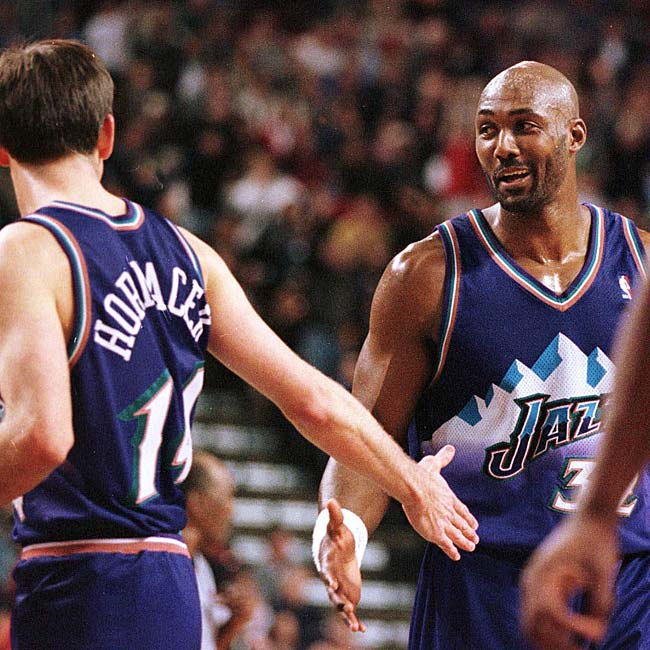 At 36 years, 273 days, Karl Malone became the oldest player in NBA history to score 50 points or more in a playoff game when he recorded 50 points in Game 1 of the first round against Seattle.