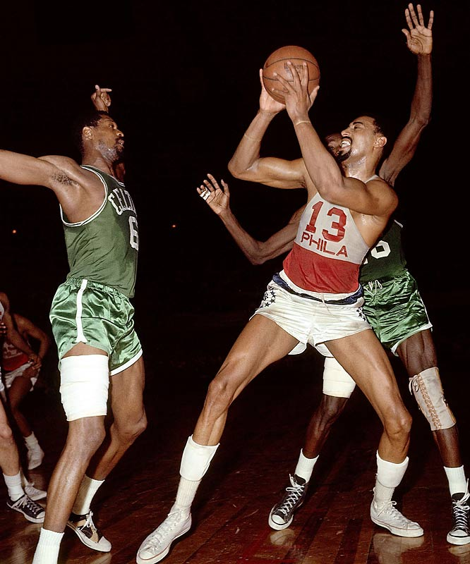 """With Wilt Chamberlain back in the East after one season in San Francisco, the 76ers alternated wins and losses with the favored Celtics for six games, including Philadelphia's Hal Greer-inspired 134-131 overtime victory in Game 4. Game 7 brought one of the most famous calls in sports history: """"Havlicek stole the ball! It's all over!"""" Celtics broadcaster Johnny Most screamed as John Havlicek sealed Boston's 110-109 victory."""