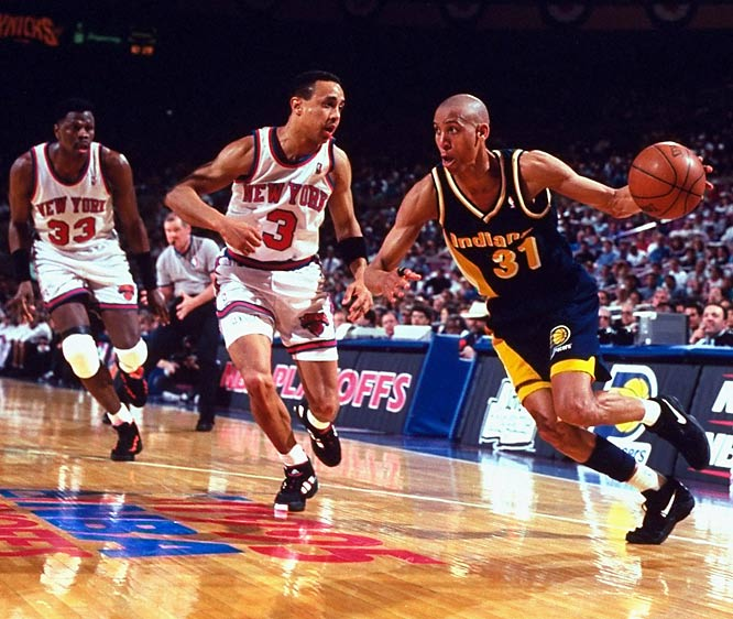 """One year after the Knicks eliminated the Pacers from the East finals in seven thrilling games, the teams met for an encore performance that managed to surpass the original. Game 1 at Madison Square Garden set the tone for the series: Reggie Miller scored eight points in the final 16.4 seconds to erase a six-point deficit and stun the hosts, whom he called """"choke artists."""" Two weeks later, the hated rivals returned to the Garden for a seventh and deciding game, with the Pacers prevailing 97-95 thanks to Patrick Ewing's missed layup at the buzzer."""