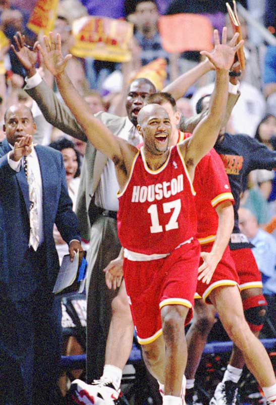 The Rockets, who entered the playoffs as the sixth seed, became the first (and last) team to beat a No. 3, No. 2 and No. 1 seed on the way to the Finals. Houston's stiffest challenge came when it slipped into a 3-1 hole against Charles Barkley's Suns. The Rockets dug deep to force a seventh game (including an overtime win at Phoenix in Game 5), and Mario Elie delivered the coup de grace with a go-ahead three-pointer from the corner with 7.1 seconds left  -- before blowing a gentle kiss to the stunned Phoenix bench. The shot was immortalized in Houston sports lore as the ''Kiss of Death.''Send comments to siwriters@simail.com.