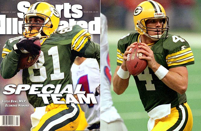 Desmond Howard returned a kickoff 99 yards for a touchdown and earned Super Bowl MVP honors with 244 total return yards to give the Packers their first Super Bowl win in 29 years. Brett Favre passed for two touchdowns, ran for a score and completed 14 of 27 passes for 246 yards, with no interceptions.