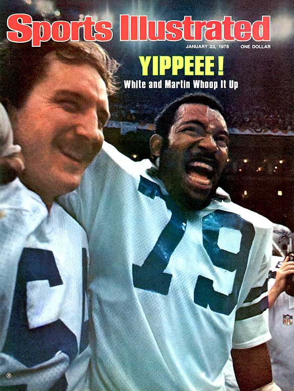 Randy White and Harvey Martin earned co-MVP honors as they led a Cowboys' defense that recovered four fumbles and intercepted four passes in front of a sellout crowd of 75, 583 and more than 102 million television viewers. The 'Boys clinched the game when running back Robert Newhouse tossed his first pass in three years -- a 29-yard touchdown pass to Golden Richards with 7:04 left in the game.