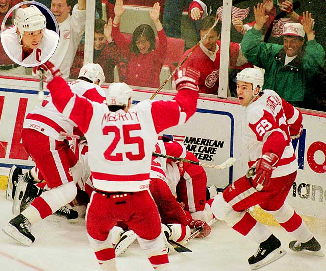 """Red Wings captain Steve Yzerman (inset) ended an epic goaltending duel by grabbing a puck off Wayne Gretzky's stick, taking off and beating Jon Casey with a slap shot from the blue line at 1:15 of double overtime. """"I couldn't believe it went in,"""" Yzerman said after the game. """"I don't score a whole lot of goals from out there. To score a goal in overtime, particularly in Game 7, is a tremendous thrill. Every player dreams of that."""""""
