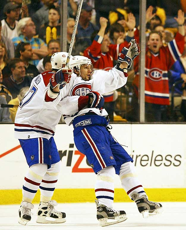 The Canadiens came all the way back from a three-games-to-one deficit for the first time in their storied history, winning a defensive battle in Boston. The Northeast Division champion Bruins held the underdog Habs to one shot in the third period -- until Richard Zednik broke the scoreless tie with 9:08 left by knocking home the rebound of Alex Kovalev's shot. Zednik also scored into an empty net.