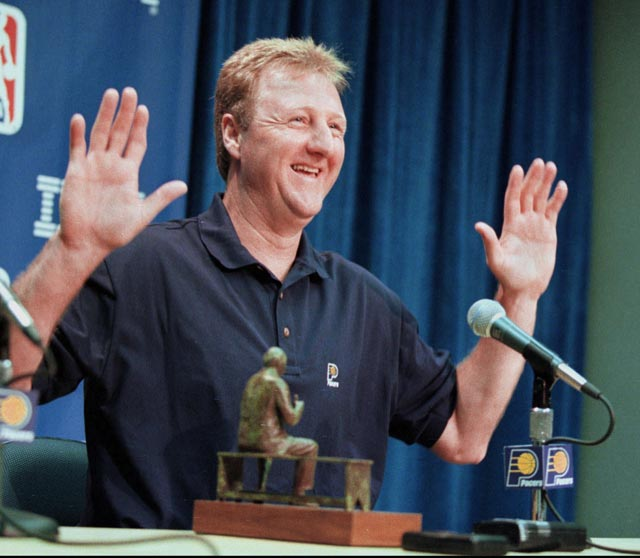 Indiana Pacers head coach Larry Bird becomes only the third rookie head coach to win the NBA Coach of the Year award.