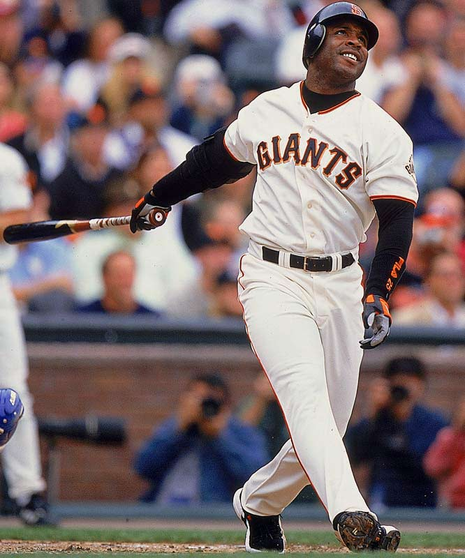 After a 29 at-bat homerless drought, Barry Bonds finally catches Babe Ruth with his 714th round-tripper. The historic homer, which ties the designated hitter for second place for career round trippers, comes during the second inning of an interleague contest with the A's.