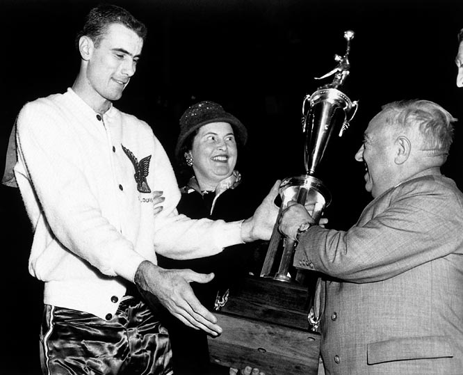 In only his second season, Pettit, 23, led the league in scoring (25.7) and rebounding (16.2) on his way to claiming the league's inaugural MVP award. He would go on to capture the award again after the 1958-59 season.