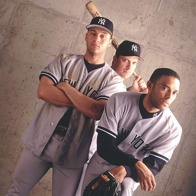 Derek Jeter, Tino Martinez and Mariano Rivera strike a pose during a photo shoot for an SI feature.