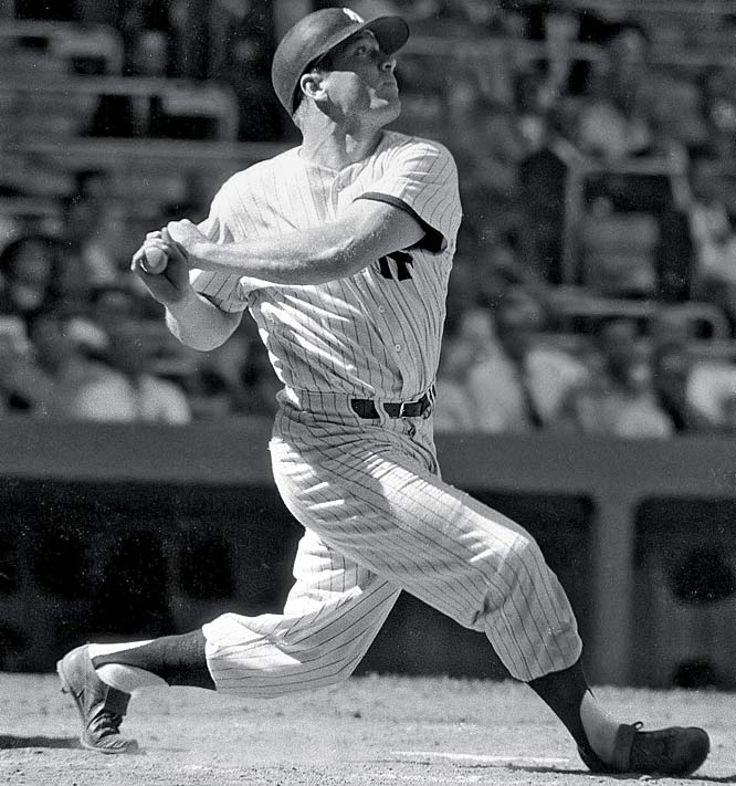 Mickey Mantle takes a big cut during a game against Washington.