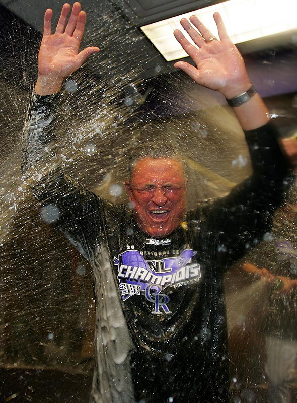 Clint Hurdle looks like he is trapped in a car wash after the Rockies captured the 2007 National League pennant.