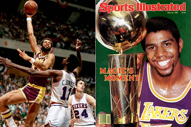 With Kareem Abdul-Jabbar (ankle) sidelined for Game 6, rookie Magic Johnson moved to center and led the Lakers to a series-clinching 123-107 victory. Johnson, the Finals MVP, had 42 points and 15 rebounds.