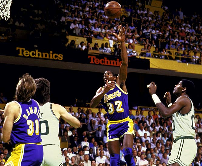 "In one of the most memorable moments in Finals history, Magic Johnson won Game 4 with what he called his ""junior, junior, junior sky hook."" That victory in Boston gave the Lakers a 3-1 lead; they wrapped it up two games later in Los Angeles, where 39-year-old Kareem Abdul-Jabbar scored 32 points and Magic closed with 16 points, 19 assists and eight rebounds. Johnson became the fourth player to win the regular-season and Finals MVP awards."