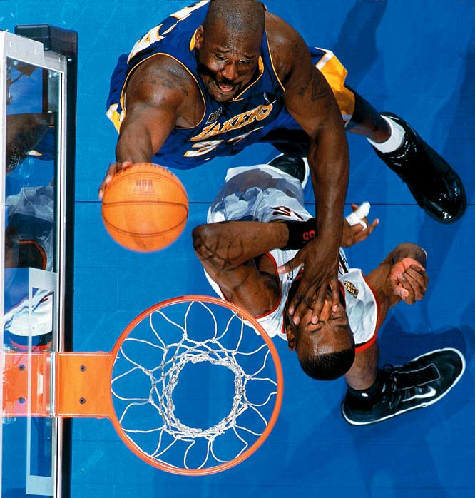 A Game 1 overtime loss to Allen Iverson and Co. was the Lakers' only defeat in 16 postseason games. Shaquille O'Neal averaged 33.0 points and 15.8 rebounds in the Finals.