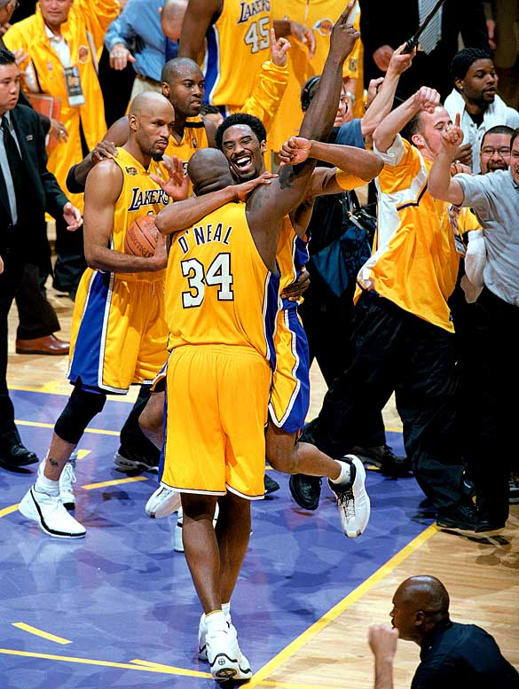 The Shaq- and Kobe-led Lakers did their heavy lifting in Game 7 of the Western Conference finals when they rallied from a 15-point fourth-quarter deficit to topple the Trail Blazers. They dispatched Reggie Miller and the Pacers in six games in the Finals for the first of three consecutive championships.
