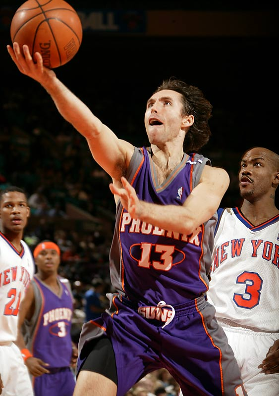 A self-made Canadian point guard with one NCAA scholarship offer (from Santa Clara), Nash began his pro career as the Suns' third-string point guard behind Jason Kidd and Kevin Johnson. Phoenix traded him in 1998 to Dallas, where he overcame a rough start to emerge as a star in his fifth NBA season. He then further surprised the Mavericks by blooming into a two-time league MVP after returning to the Suns as a free agent.