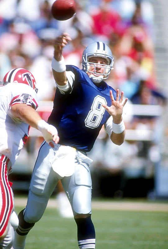 Aikman finished his rookie season with an 0-11 record as a starter, completing 155 of 293 passes for 1,749 yards, 9 TDs, 18 INTs. Aikman and the Cowboys vastly improved in 1990, going 7-9, setting the table for a decade of dominance in Dallas.