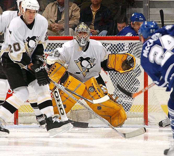 The Penguins drafted goaltender Marc-Andre Fleury first overall in 2003 and then suffered through a league-worst record of 23-47-8-4. Mario Lemieux was sidelined by a hip injury after only 10 games.