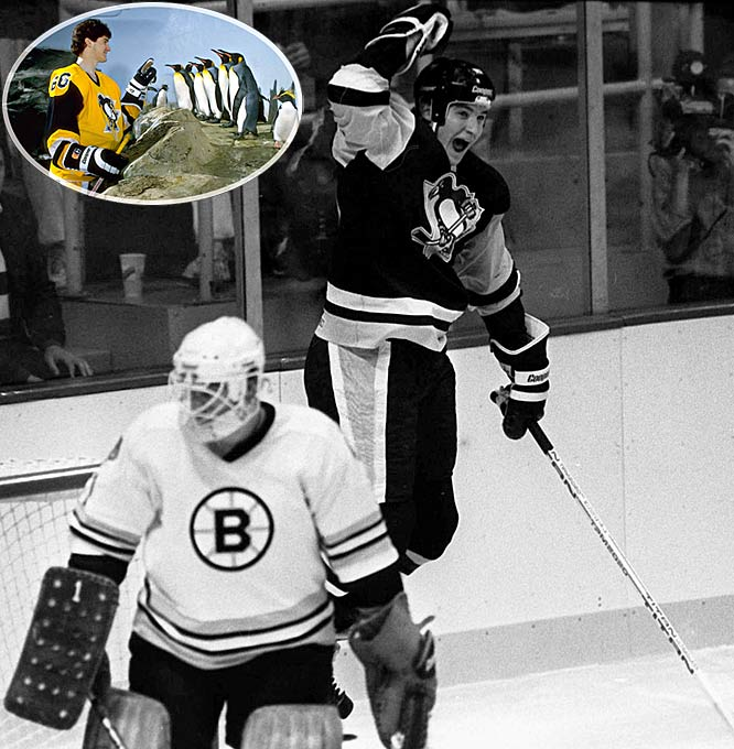 """After finishing last overall with a franchise-worst mark of 16-58-6, the Penguins used their first overall draft pick to take 6' 4"""" Laval center Mario Lemieux. Nicknamed """"Super Mario,"""" he scored his first NHL goal on his first shift (vs. Boston) and went on to win All-Star MVP honors and the Calder Trophy as only the third rookie to ever score 100 or more points. In 1988, Lemieux ended Wayne Gretzky's seven-year run of scoring titles and eight-year reign as NHL MVP, becoming the first Penguin to achieve either feat."""