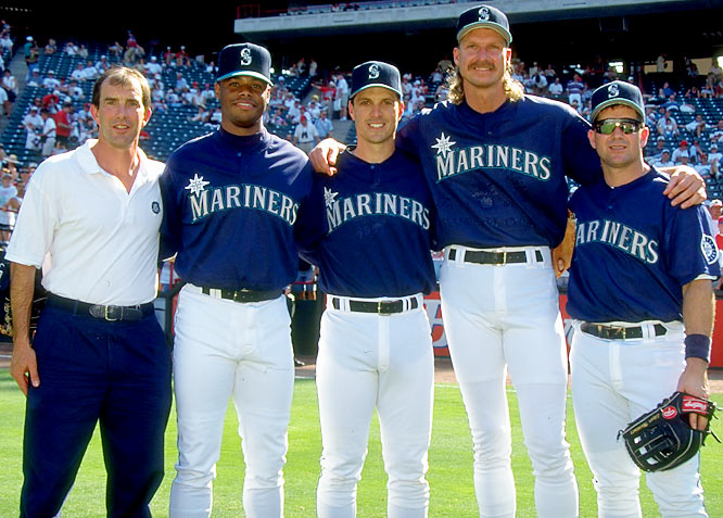 In 1995, Johnson broke out in a big way, finishing 18-2, striking out 294 batters in 214 innings of a strike-shortened season. He was awarded the Cy Young Award and made his fourth All-Star team along with Mariner teammates Ken Griffey Jr., Tino Martinez and Edgar Martinez.