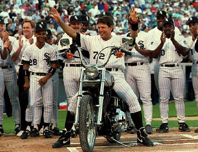 """White Sox backstop Carlton Fisk surpasses Bob Boone  to become the all-time leader in games played by a catcher (2,226). The organization honors him with """"Carlton Fisk Night"""" and he is given a Harley Davidson motorcycle by his teammates."""