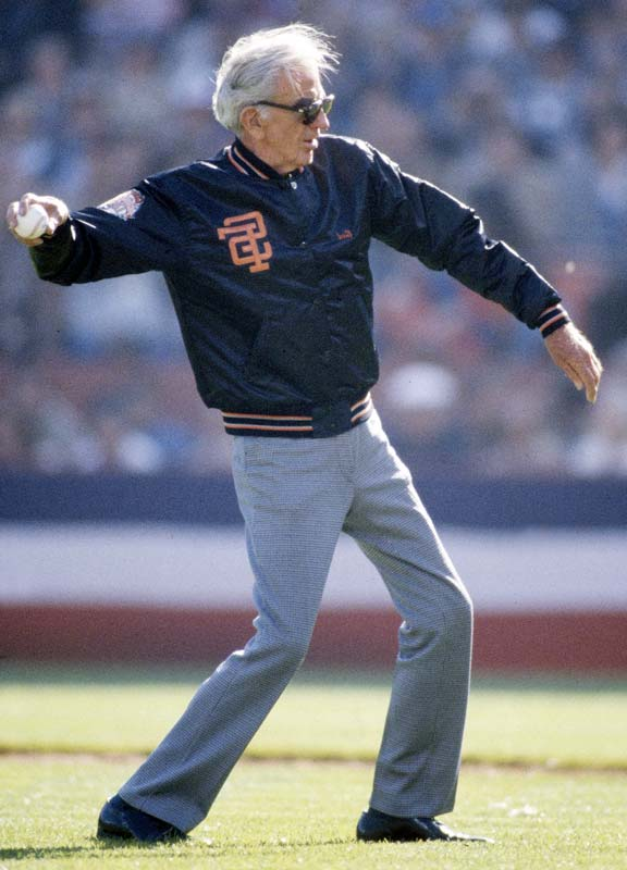 Giants legend Carl Hubbel throws out the ceremonial first pitch.